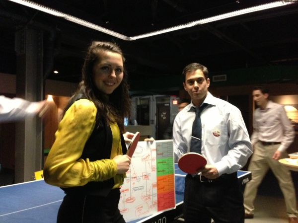 Rotaractors Kristina and Freddy celebrate as the night's ping pong champions
