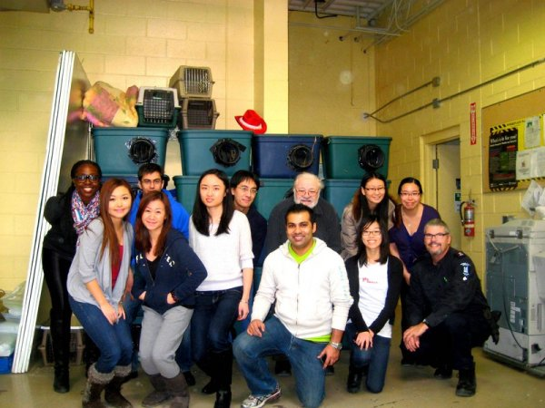Rotaractors volunteer at Toronto Animal Services to build feral cat shelters - January 27th, 2013