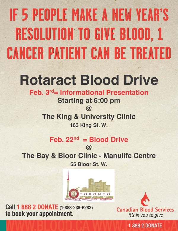 Rotaract Blood Drive with logo